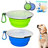Collapsible Dog Bowl, 2 Pack Foldable Silicone Bowl with Transparent Lid & Reusable Storage Bags Dog Food Container & Dog Poop Bag with Dispenser, Portable Travel Set