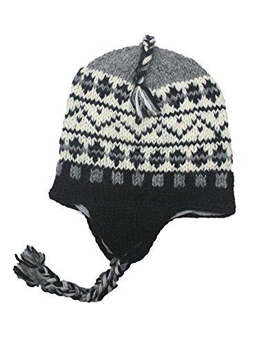 Sherpa Designs Hand Knit Unisex Wool Beanie Hat Ear Flap Fleece Lined Nepal (Black Gray)