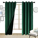 ZHAOFENG Emerald Green Blackout Velvet Curtains with Grommet, SoftLuxury ThickSunlight Dimming Heat InsulatedPrivacy ProtectVelour Drapes for Bedroomand Dining Room, 2 Panels, W52 x L84 Inches