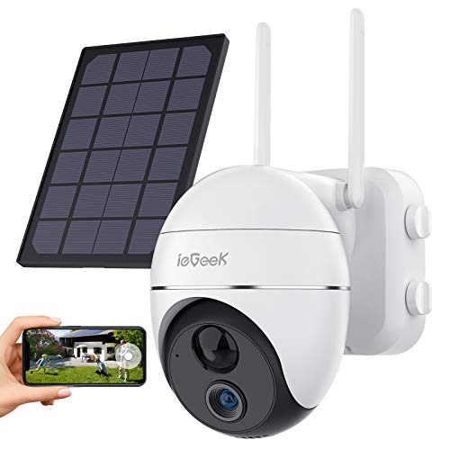Security Camera Outdoor, Wireless WiFi 360° PTZ Camera, ieGeek 15000mAh Solar Security Camera Battery Powered, Home Surveillance Camera with 2-Way Audio, Motion Detection, 1080P Night Vision, SD/Cloud