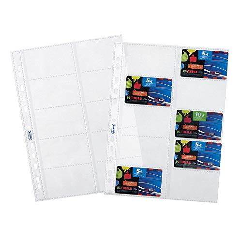 Favorit 100460075 Buste Foratura Universale Porta Cards, Formato Interno 8.5 x 5.4 (x10) cm, Finitura Liscia, 10 Tasche per Schede Telefoniche e Cards, Confezione da 10 Pezzi, Trasparenti