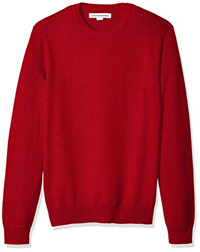 Amazon Essentials Men's Crewneck Sweater, Red, Large