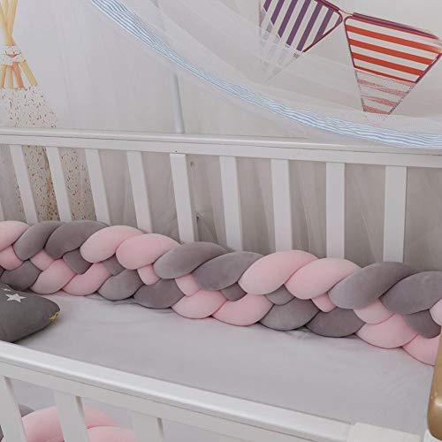 Yoommd Protector de bordes de la cama para cuna, con 4 cuerdas de 4 m de longitud