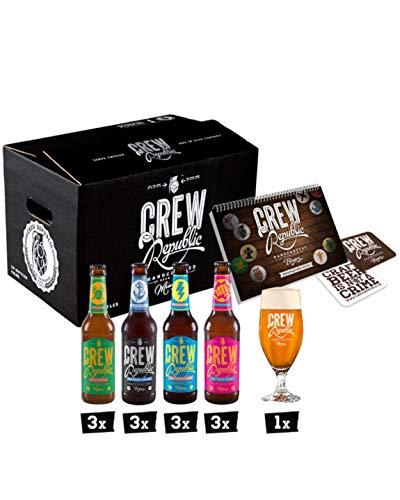 CREW REPUBLIC® Craft Beer IPA Mix   Set de degustación   Regalo ideal para hombres   Elaborada en Baviera según la ley de pureza de Alemania   Incluye vasos de degustación y notas de cata (12