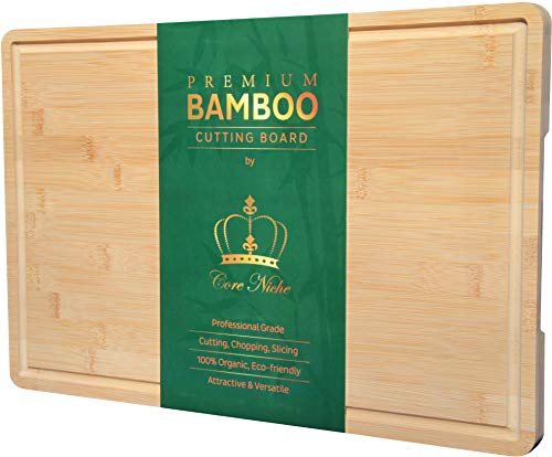 """Bamboo Cutting Boards for Kitchen, Wood Chopping Board Butcher Block with Juice Groove & Handles - Reversible Thick Cutting Board for Meat, Vegetables, Cheese, and everyday use! 12x18"""""""