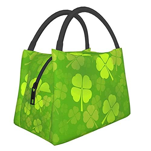 Teery-YY Bolsa de almuerzo St Patrick_s Day Shamrock Lucky Caja portátil a prueba de fugas para mujeres, hombres, niños, niñas, bolso resistente al agua, para oficina, escuela, trabajo, picnic, viajes