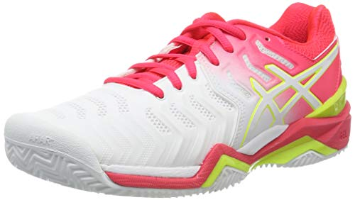 Asics Gel-Resolution 7 Clay, Zapatillas de Tenis Mujer, Blanco (White/Laser Pink 116), 42 EU