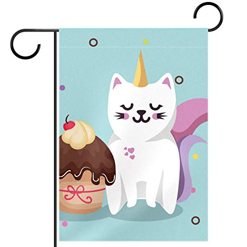 ART VVIES Yard Cartoon Funny Animal Unicorn Cake Garden Flag Without Stand Double Sided Outdoor Decoration Pattern 28x40 inch