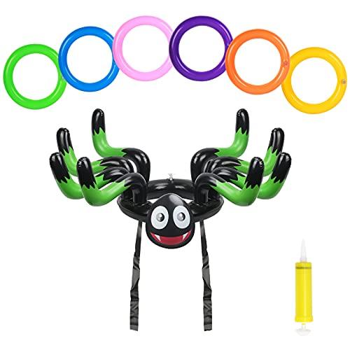 ZERHOK Halloween Aufblasbarer Spinnen Wurfspiele Draußen Familie Party Hut Ringwurfspiel Outdoor Halloween Spiele für Kinder Erwachsene Jungenmit 6Stk Wurfringen(Grün)