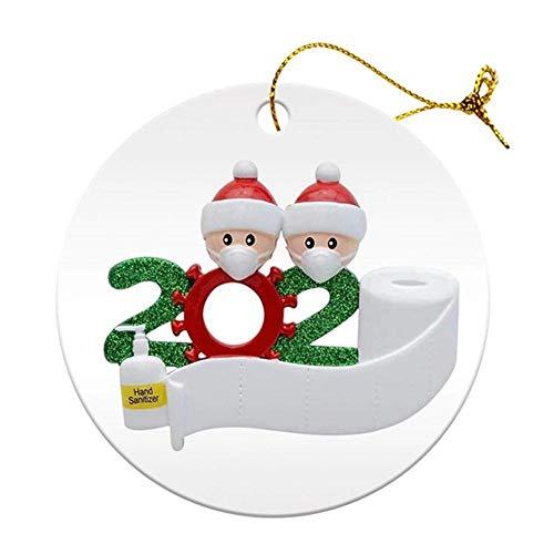 2020 Christmas Quarantine Couple Decoration Gift, napisane imię DIY Błogosławieństwo spersonalizowana żywiczna choinka wisząca ozdoba, impreza towarzyska dystansująca ozdoby Świętego Mikołaja