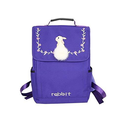 YX Fitness Schultasche Damen Kaninchen Haar Ball Rucksack einfache Stickerei Handtasche Mode Freizeit Reise im freien aben