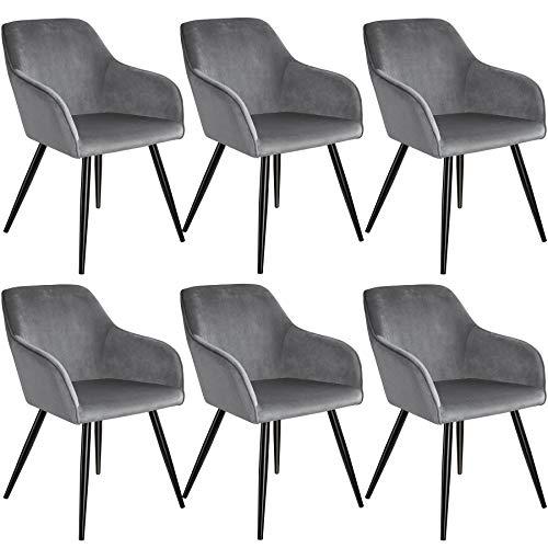 tectake 800867 6er Set Esszimmerstuhl mit Armlehnen, gepolstert, Sitzfläche aus Samt, Schwarze Metallbeine, für Wohnzimmer, Esszimmer, Küche und Büro (Grau Schwarz | Nr. 404036)