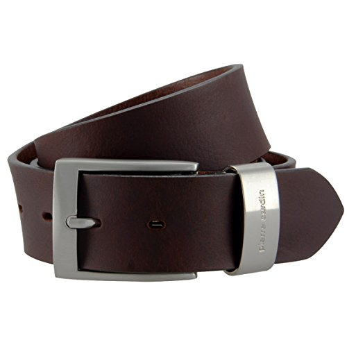 Pierre Cardin Mens leather belt / Mens belt, full grain leather belt XL with metal loop, dark brown, Size:120