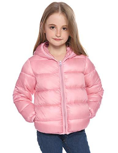 Hawiton Chaqueta para niña Niños,Caliente Ligero Abajo Acolchado con Capucha Invierno,bebés Jackets de Corto con Cremallera,Rosado