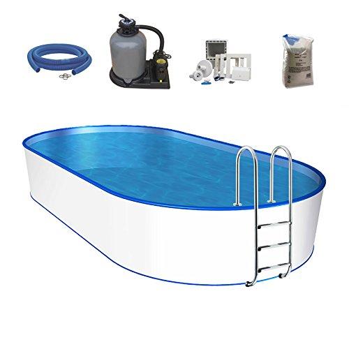 POWERHAUS24 Oval-Pool, Größe & Tiefe wählbar, Stahlwand und Folie 0,6mm Einhängebiese, Edelstahlleiter, Sandfilteranlage, Filtersand, Skimmer, Schlauchset 700 x 350 x 150cm