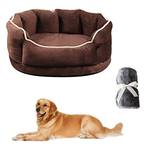 JOOFFF Cama de Gatos y Perros,Cama de Mascotas para Perros Grandes Medianos y Qequeños,Lavable Cojín para Perros con Almohada Reversible-Marrón M