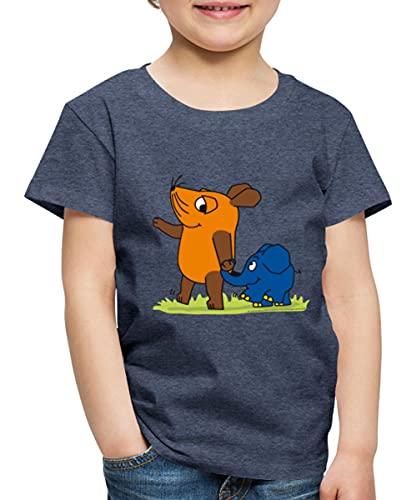 Die Sendung Mit Der Maus Elefant Und Maus Hand An Rüssel Kinder Premium T-Shirt, 134-140, Blau meliert