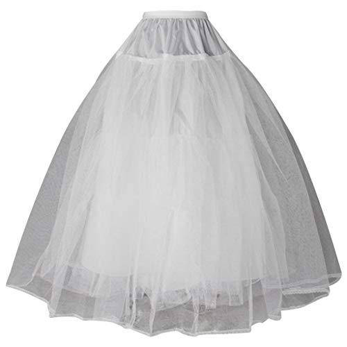 Huiouer - Sottogonna in crinolina da donna, con 3 cerchi, lunghezza totale del pavimento, sottogonna a doppio strato, elastico in vita