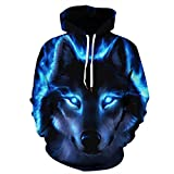 Volanic Unisex 3D Novelty Hoodies Graphic Patterns Wolf Printed Hoodie Pullover Sweatshirt