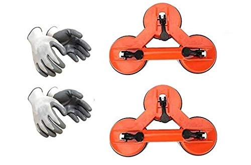 Excel Impex Glass Triple Lifter (Vacuum Suction Lifter) and Cut Resistant Safety Hand Gloves Combo for Glass, Tiles, Metal Lifting Set of 2