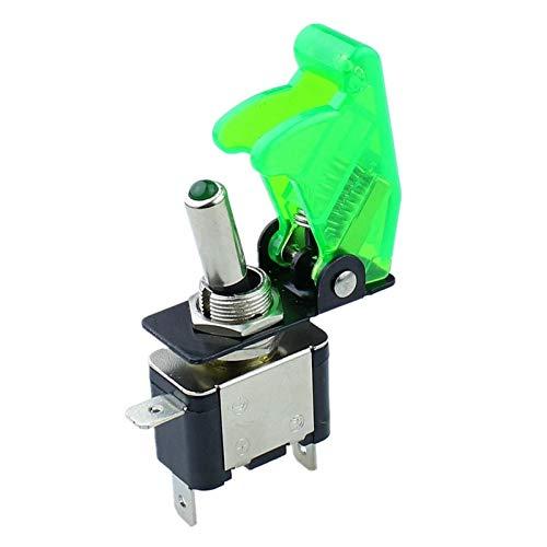 Kfdzsw Interruptor basculante Interruptor de Palanca de LED Iluminado Verde con Estilo de mordida de Estilo Missile Cubierta de Coche Dash 12V (Color : LED)