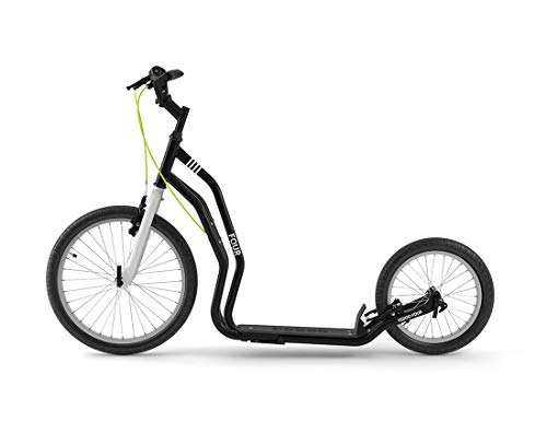 Yedoo Four Tretroller - bis 150 kg, Kickscooter mit Luftreifen 20/16 - Dogscooter für Erwachsene, Cityroller mit Ständer und verstellbaren Lenker