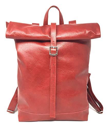 Rucksack Damen für Schule Uni Reisen Leder Rollrucksack Shopper Weekender grosse Ledertasche rot