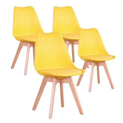 EGOONM Ensemble de 4 chaises de Salle à Manger, chaises de Style Nordique, pouvant être placées dans la Salle à Manger, Le Salon et Le Bureau (Jaune-4)
