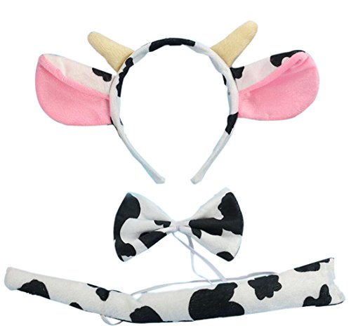 Marlegard 3PCs Funny Dalmatian Milk Leopard Costume Headband Ear with Tail Tie (Milk with Horn)