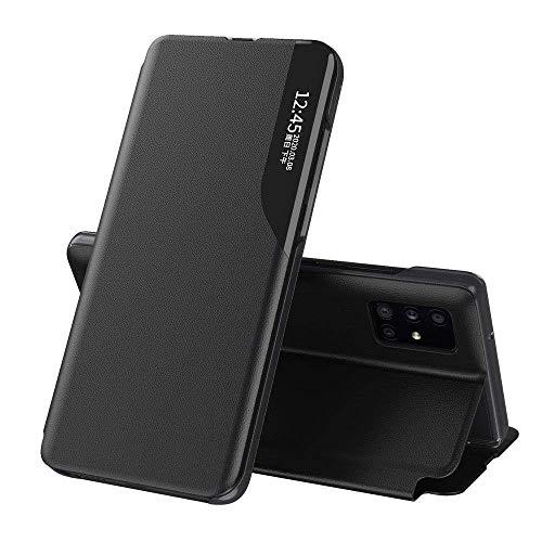 Eco Leather View Hülle Buch Tasche Leder Handyhülle Schutzhülle aufklappbare Hülle Standfunktion kompatibel mit Xiaomi Mi 10T Pro Schwarz