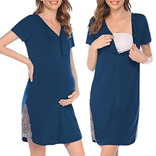 Pinspark Camisón de lactancia para mujer, de manga corta, para embarazadas, para hospital, con botones y encaje, tallas S-XXL azul verde XL