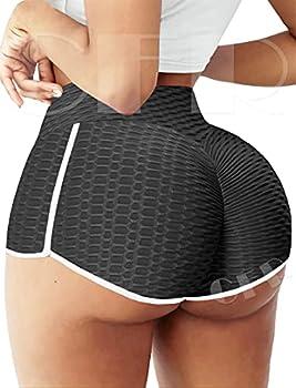 CFR Women Workout Shorts Anti Cellulite Scrunch Peach Butt Lift High Waist TIK TOK Leggings Squat Proof Sport Gym Active Hot Pants G1-Texture Black,XL