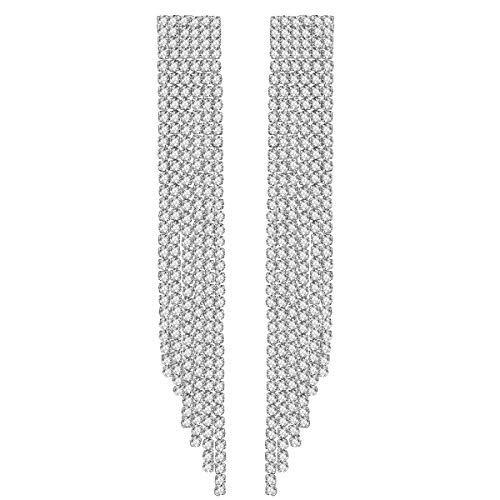 Mecresh, orecchini a nappa lunga, in argento, con strass, per damigella d'onore, colore: C-clear