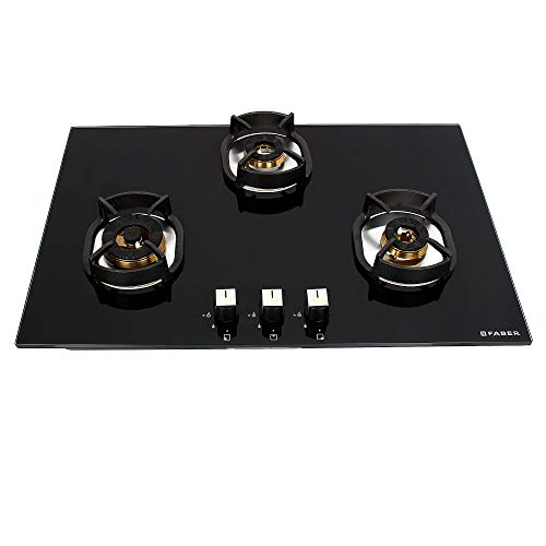 Faber Hobtop Nexus HT783 CRS BR CI 3 Brass Burner Auto Electric IgnitionGlass Top, Black