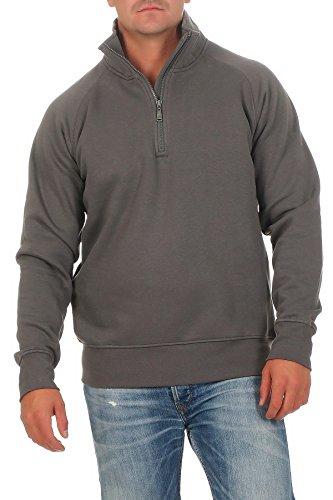 Happy Clothing Herren Pullover halber Reißverschluss ohne Kapuze, Größe:3XL, Farbe:Anthrazit