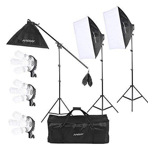 Andoer 2400W Lighting Kit, Photography Studio Continuous Softbox Lighting System Including 12X45W 5500K LED E27 Bulbs for for Photo, Video, Portrait and Product Shooting