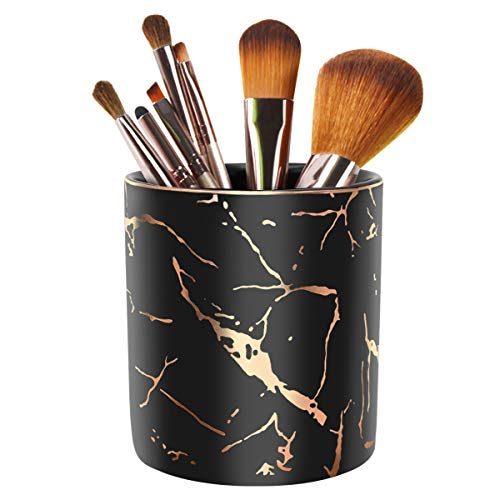 Pencil Cup, Pen Holder for Desk, Pen Pencil Stand Holder for Desk, WAVEYU Office Desk Organizer for Girls Women Kids Ceramic Glitter Marble Makeup Brush Holder, Black (Upgrade Style)