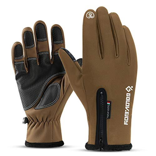 Skihandschuhe Männer und Frauen Winter Outdoor Waterproof Plus Velvet Warme Handschuhe Touchscreen Fahren Motorradhandschuhe zum Outdoor-Sportarten, Ski, Motorrad,Brown,L