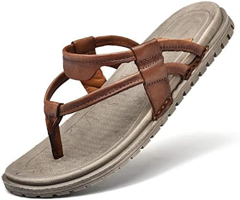 Hendyijb Men Sandals Men Slippers Summer PU Leather Flip Flops Outdoor Beach Casual Slippers Soft Non-Slip Male Slides Size 44 Men's Sandal (Color : Brown, Shoe Size : 41)