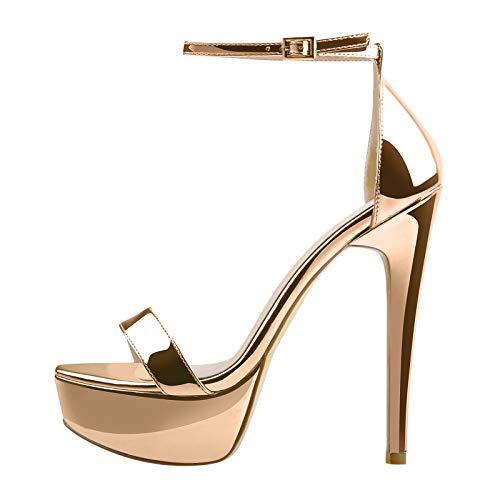 MissHeel Women's Stiletto Heels Sandals Buckle Strap Cross Band Round Toe Platform Sandals Summer Shoes Gold Size 4