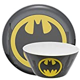 "Zak Designs DC Comics Batman - Kids Dinnerware Set, Including 10"" Melamine Plate and 27 Ounce Bowl Set, Durable and Break Resistant Plate and Bowl Makes Mealtime Fun (Melamine)"