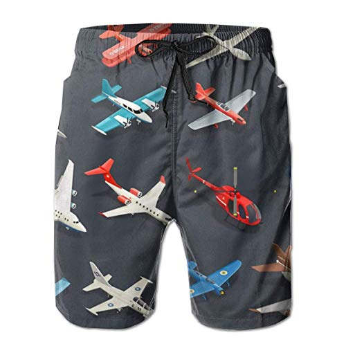 Boardshorts Herren Badehose Flugzeuge Hubschrauber Childish Style Surfing Beach Board Shorts Badebekleidung Medium