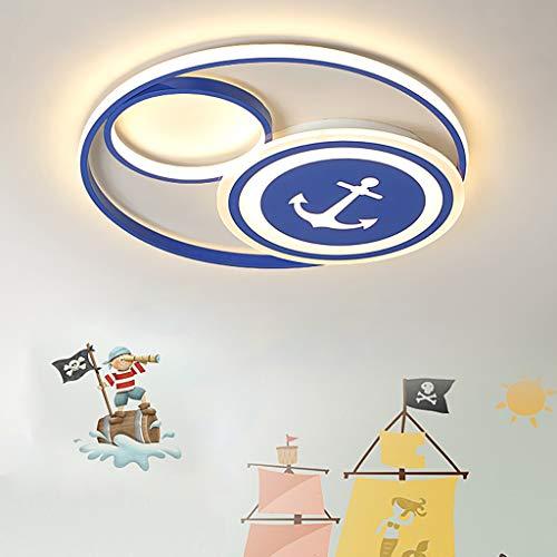 Luces de techo para niños Dibujos animados de piratas LED Lámpara de techo de timón de marinero Pantalla de acrílico Control remoto Luces LED Luces de techo para habitación infantil Regulable