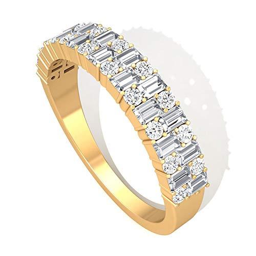 Anillo de compromiso de diamante redondo con certificado de baguette de 0,61 ct, anillo de compromiso, boda, aniversario de boda, media eternidad, para mujeres, 10K Oro amarillo, Size:EU 54