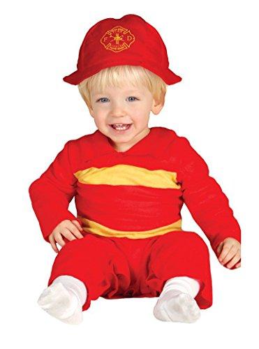 Feuerwehrmann Baby Kostüm Overall mit Helm rot Kinderfasching Feuerwehr (74/80)