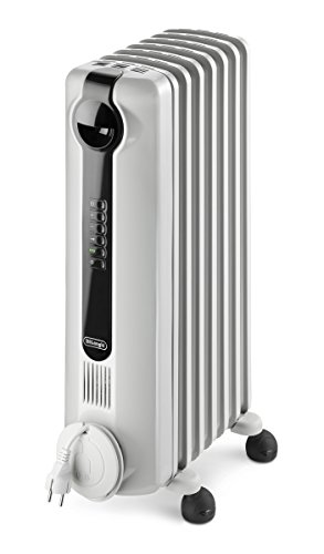 De'Longhi Oil-Filled Radiator Space Heater, Full Room Quiet 1500W, Adjustable Thermostat, 3 Heat Settings Digital Timer, ECO Energy Saving Mode, Safety Features, Light Gray, Radia S