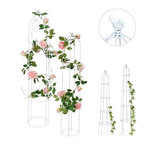 Relaxdays Rankhilfe, 2er Set, Blatt, freistehend, Kletterpflanzen, wetterfest, Rankturm, 117 cm & 97 cm, weiß, Design B