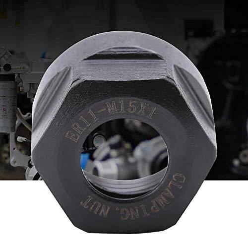 Spannsechskantmuttern Typ ER11 Doppelschicht aus Gummi und Stahl für CNC-Drehfutterhalter für Drehfutter(M15*1-Black)