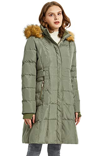 Orolay Quilted Down Jacket Women Winter Long Coat Puffer Jacket with Fur Hood ArmyGreen M