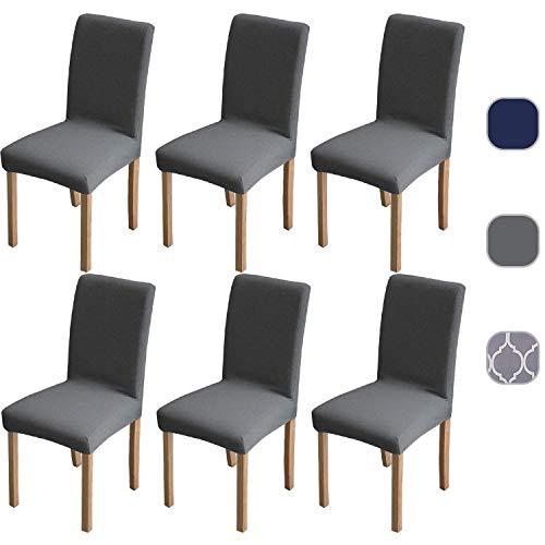 6 x superweiche Stretch-Stuhlbezüge, abnehmbare, waschbare Schonbezüge, hochelastische Esszimmerstühle-Bezüge, Spandex-Stuhlschoner mit 5 gratis Filzbodenschoner (grau)